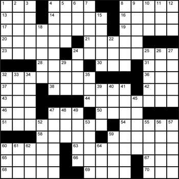 Halftime Crossword Grid