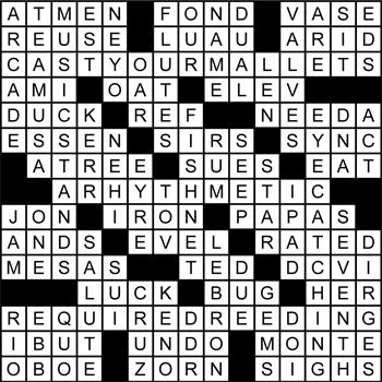 Halftime Crossword Solution