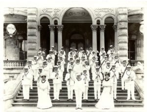 A photo of the professional marching band the Royal Hawaiian Band from the State archives.