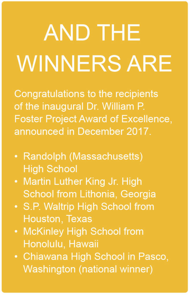 2017 Recipients of the Dr. William P. Foster Project Award of Excellence