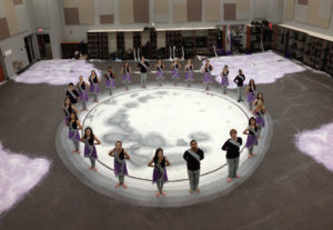 The Fayetteville (Arkansas) High School color guard.