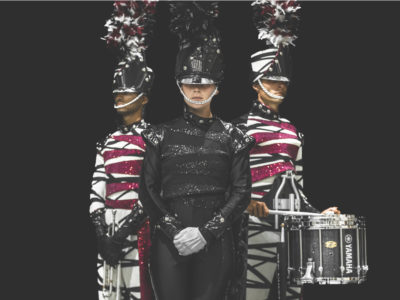 Photo of the Cadets Drum and Bugle Corps new uniforms.