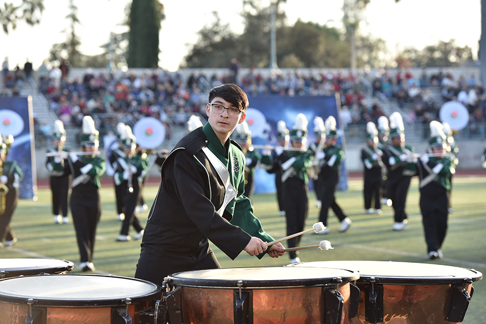 The Kaiser High School Catamount Pride Band and Color Guard