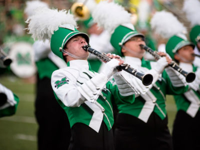 A photo of the Marshall University Marching Band.