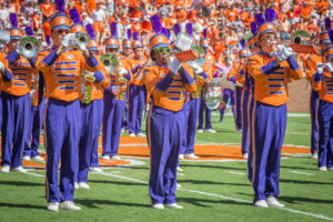 A photo of Clemson University Tiger band.