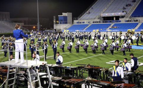 A photo of the University of Delaware Marching Band.