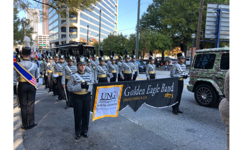 A photo of the University of North Georgia (UNG) marching band.