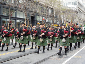 A photo of the the Irish Pipers Band.