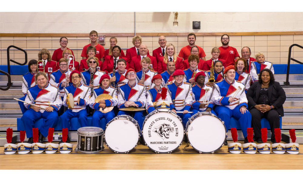 A photo of the Ohio State School for the Blind Marching Panthers Band.