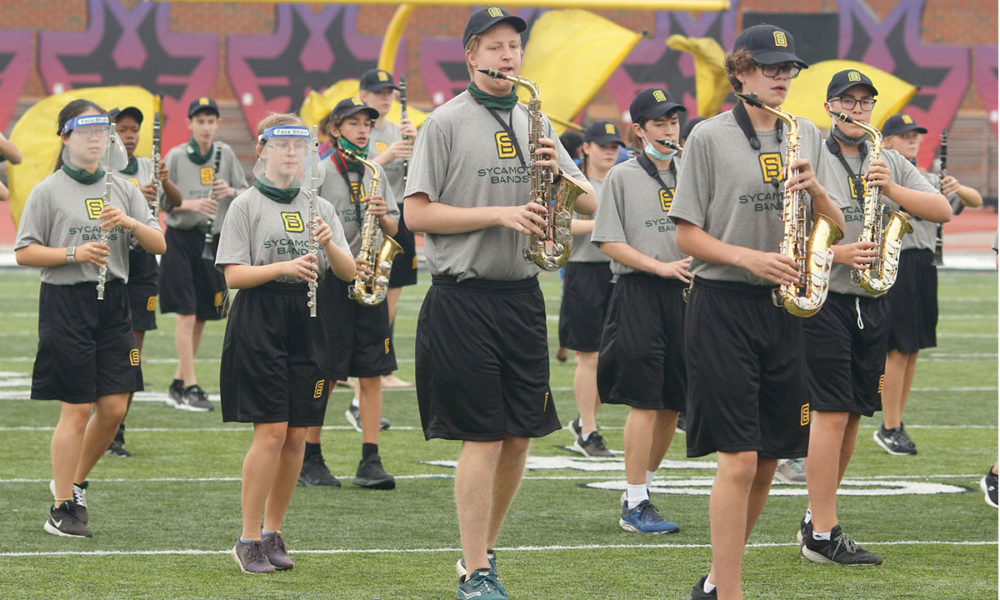 A photo of the Sycamore Marching Band.