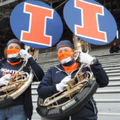Band members at the University of Illinois at Urbana-Champaign.